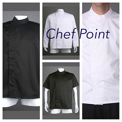 2 Pack Economy Chef Jacket,unisex,modern Style,blk / White S/s Or L/s.press Stud