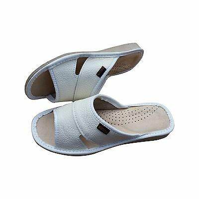 Womens White Natural Leather Slippers Sandals Mules Beach White Size 3 4 5 6 7 8