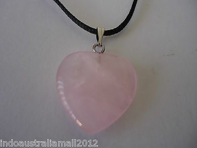 Rose Quartz Gemstone Love Heart 25mm Pendant with Necklace (B04913)