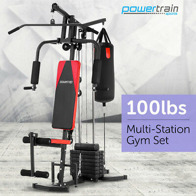 MULTISTATION HOME GYM EXERCISE EQUIPMENT TOTAL WORKOUT FITNESS WEIGHTS 45kg