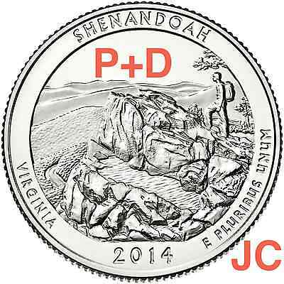 2014 P D Shenandoah National Park QUARTER Virginia STATE ATB 2 Coin SET New PD