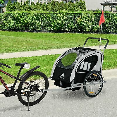 Aosom Bicycle Trailer Baby 2 in 1 Stroller Children Seat Cycling Hitch Black