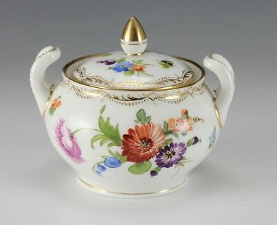 RK Dresden Twin Handled Sugar Bowl - Hand painted floral decoration with gilt