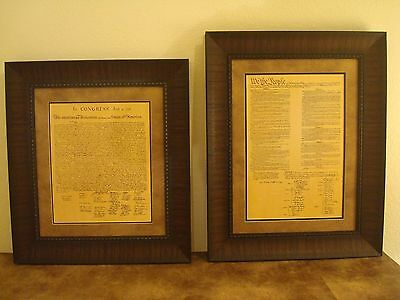 Framed Declaration Of Independence & Constitution Of Us Printed Parchment Paper