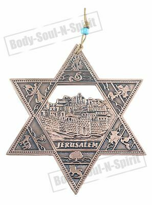 Israel Star of David JERUSALEM Wall Hanging - Copper Plated Jewish Judaica Gift