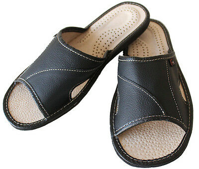 Mens Hand Made Leather Slippers Slip On Shoes Mules Black UK Open Toe UK