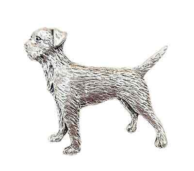 Border Terrier Dog Finely Handcrafted in Solid Pewter In UK Lapel Pin Badge