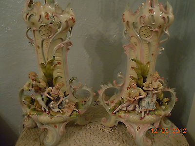 "RARE~German"" Fairy Tale"" Highly Detailed Hand Painted Porcelain Banquet Lamps"