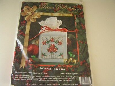 True Colors POINSETTIA Tissue Box Ribbon Embroidery Kit Beginner Level~~NIP!!