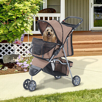 Folding Dog Stroller 3 Wheels Carrier with Brake and Canopy Coffee