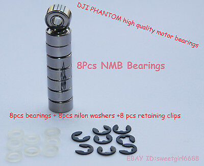 FOR DJI PHANTOM 8 pieces NMB Ball Bearings and 8 Pieces Circlips &Thrust washers