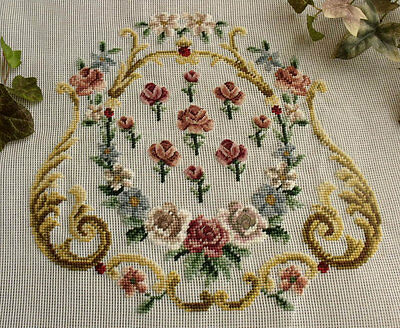 """Vtg 27"""" PREWORKED Needlepoint Canvas Petit Point ~FRENCH Chair Cover Pink Roses"""