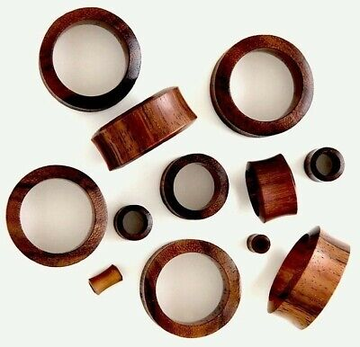 PAIR OF BROWN SONO WOOD ORGANIC HAND CARVED EAR STRETCHER FLESH TUNNEL 3-30mm