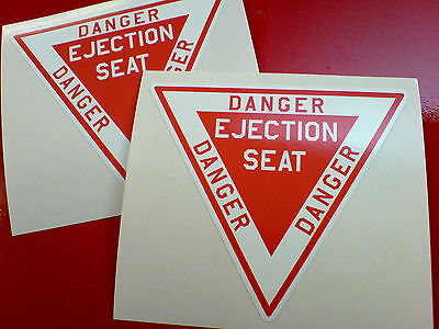 DANGER EJECTION SEAT Model Aircraft / Car Stickers Decals 2 off 85mm