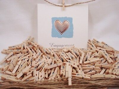 50 x Mini Wooden Pegs Natural 25mm Craft Baby Shower Clothespin FREE POSTAGE