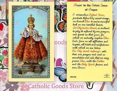 Infant of Prague, with Prayer to the Infant of Prague - Laminated Holy Card