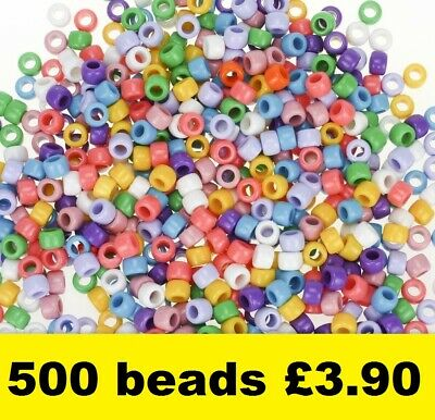 500 Pony Beads Mixed Bright Colours Opaque 9 x 6mm