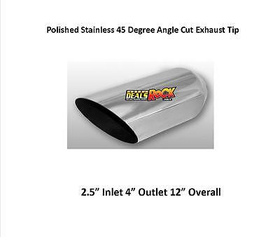 """Brand New Polished Stainless  Angle Cut Exhaust Tip 2 1/2"""" IN 4"""" Out 12"""" L"""