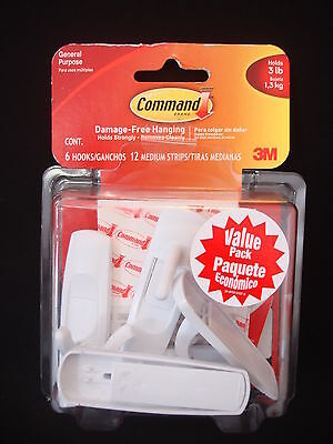 3M Command Brand General Purpose 6 Hooks & 12 Strips Holds Up To 3 lb (1 Pack)