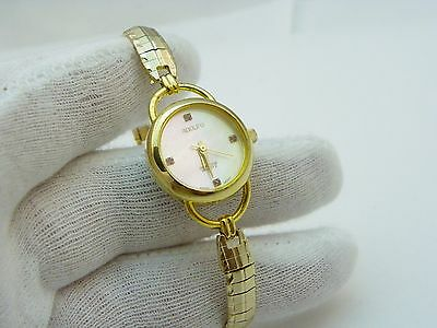 ADOLFO, All GP, Mother of Pearl Dial, Safety Chain, LADIES QUARTZ WATCH,1829