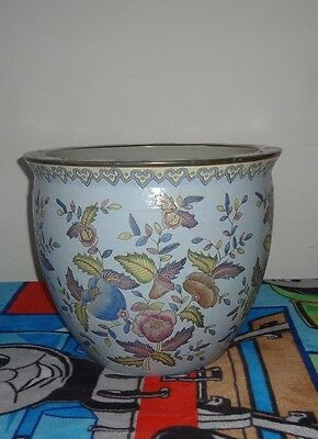 Antique Chinese Famille Rose Porcelain Large Fish Koi Bowl Jardiniere Planter