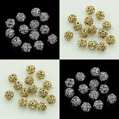 6mm/8mm Bayberry Ball Rhinestone Crystal Spacer Beads 30pcs Silver/Gold plated