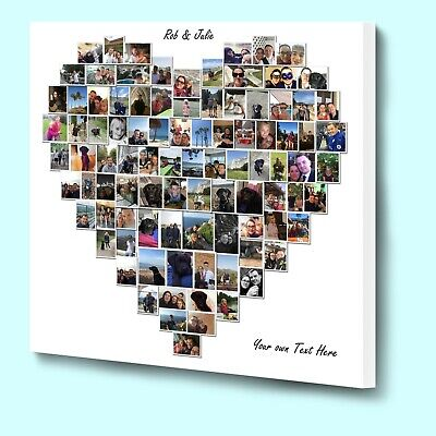 Fantasic personalised love heart shaped photo collage box framed canvas print