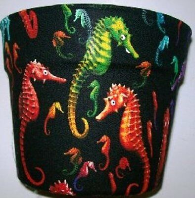 Sea Horses Planter Fabric Covered Flowerpot Gift Wrap Basket Supplies Container