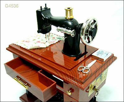 New Vintage Mini Sewing Machine Style Mechanical Music Box Gift Birthday gift