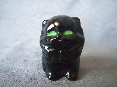 Mini Ceramic Black Persian with Green Eyes - Cat Figurine