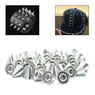 50 SPIKES CONE SCREWBACK SILVER NICKEL PUNK RIVET LEATHER BAGS CRAFT 10x29mm