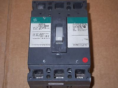 GE TED TED134020 3 pole 20 amp circuit breaker green chipped see ...
