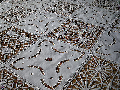 ANTIQUE FRENCH LINEN TABLECLOTH - MOSAIC - Bobbin Lace, cutwork...
