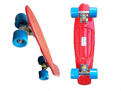 FISH Mini Cruiser Skateboard,banana board,old school 70s-Red deck