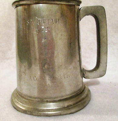 ENGLISH PEWTER MUG - EALES OF SHEFFIELD - COMMERATIVE BRITISH CAVALRY INSCRIBED
