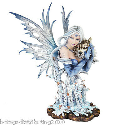 """14"""" H Winter Fairy Statue Queen Of Forest Tribal Wolf Figurine Snow Tree Like"""
