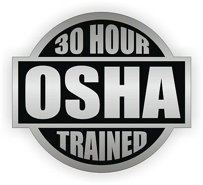 30 Hour OSHA Trained Hard Hat Decal | Safety Helmet Sticker | Worker Laborer