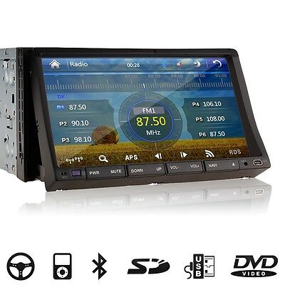 "7"" HD LCD Double DIN Car GPS Navigation Stereo DVD Player Touch Screen Bluetooth"