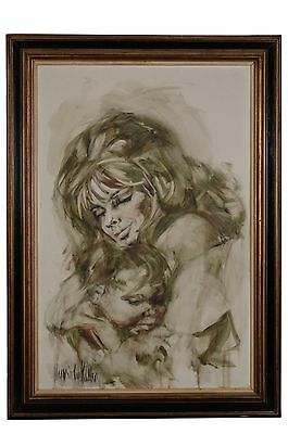 "Hyacinthe Kuller Baron circa 1960s original oil painting:""Mother and Child, Mome"