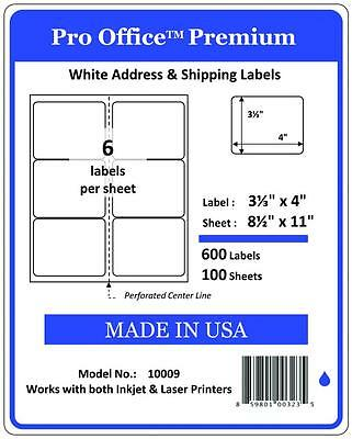 "Pro Office 4"" x 3 1/3"" Self-Adhesive Shipping Address Label,FBA  6 labels/Sheets"