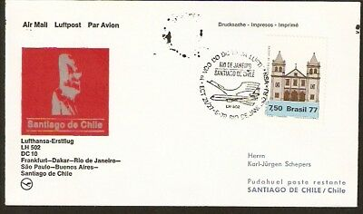 375 BRAZIL TO CHILE FFC COVER 1978 LUFTHANSA DC-10 FIRST FLIGHT COVER