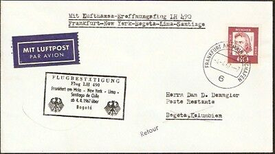 657 GERMANY TO COLOMBIA FFC COVER 1967 LUFTHANSA FIRST FLIGHT COVER