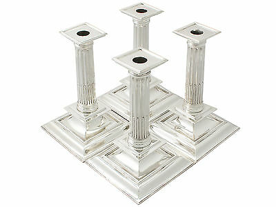 Victorian Set of Four Sterling Silver Candlesticks, Charles II Style 1850 - 1899