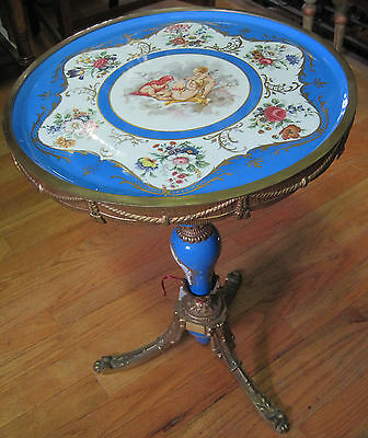 "Antique Porcelain Coffee Table Made in France Old Pari 17"" x 22"""