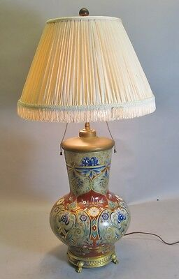 Large & Fine Antique French Hand-Enameled Art Nouveau Vase as Lamp  c. 1900