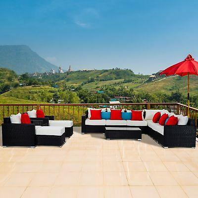 Outsunny 11Pc Wicker Furniture Rattan Sofa Set Sectional Patio Garden Outdoor