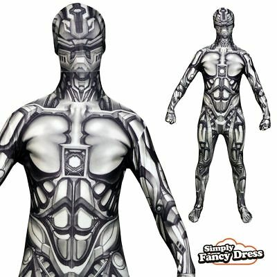 Adult Unisex Android Robot Monster Halloween Fancy Dress Costume Morphsuit
