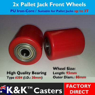 2x Polyurethane IronCore Front Wheel/Caster for Pallet Jack/Truck/Trolley/Lifter