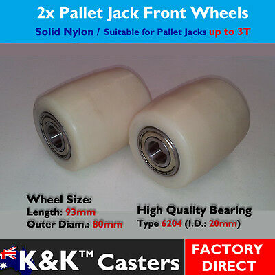 2x Solid Nylon Front Roller Wheel/Caster for Pallet Jack/Truck/Trolley/Lifter