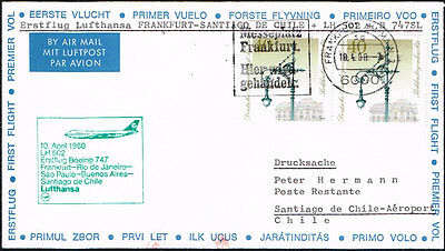 3079 GERMANY TO CHILE FFC FIRST FLIGHT COVER 1978 B-747 LUFTHANSA FRANKFURT